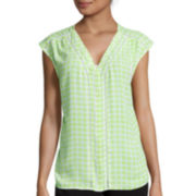 Worthington® Sleeveless Button-Down Shirt - Tall