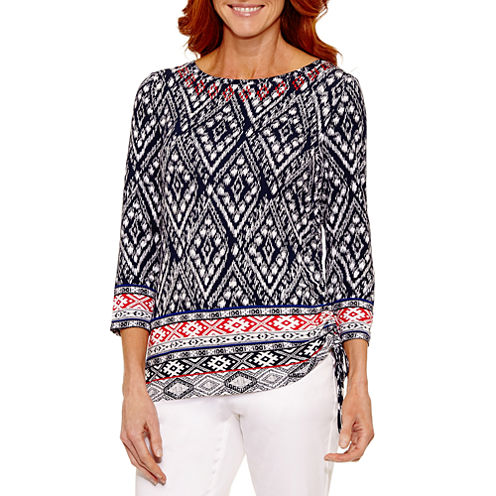 Lark Lane Lark Fashion 3/4 Sleeve Boat Neck T-Shirt-Womens