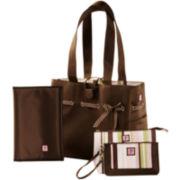 JP Lizzy Mocha Mint Classic Tote Diaper Bag