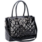 JP Lizzy Black Patent Classic Tote Diaper Bag
