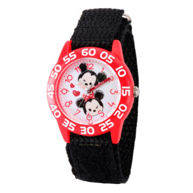 jcpenney.com | Disney Girls Mickey & Minnie Mouse Tsum Black And Red  Tsum Time Teacher Strap Watch W003001