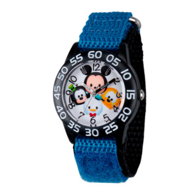 Disney boys mickey mouse goofy pluto and donald duck black and blue tsum tsum time teacher strap for Tsum tsum watch