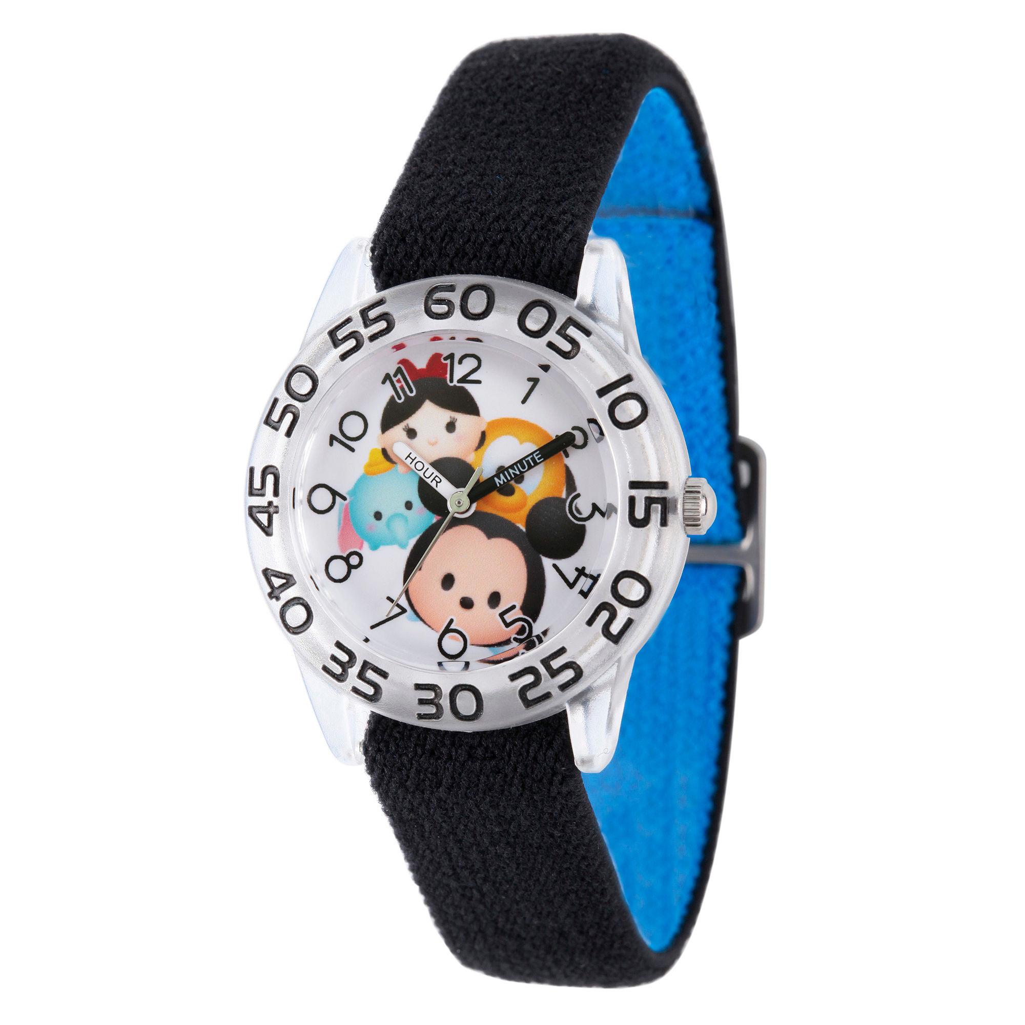Disney Boys Mickey Mouse & Friends Tsum Tsum Black Time Teacher Strap Watch W003008
