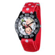 Disney Girls Mickey Mouse & Friends Tsum Tsum Black And Red Polka Dot Time Teacher Strap Watch W003012