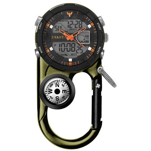 Dakota Men's Green Ana Digi Angler II Carabiner Clip Watch 37252
