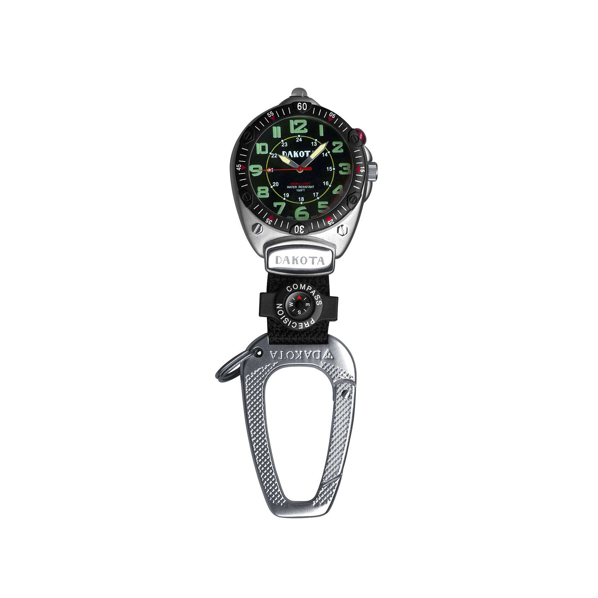 Dakota Big Face Carabiner Clip Watch, Black 88522