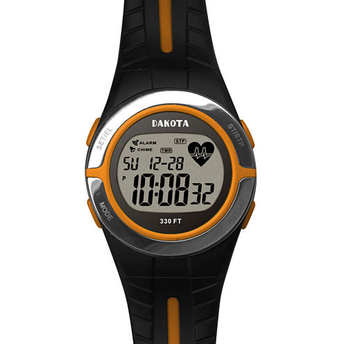 Dakota Black and Orange Heart Rate Monitor Watch 36909
