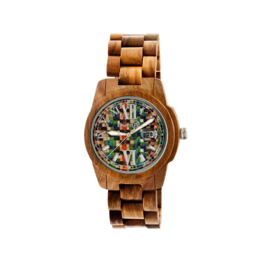 jcpenney.com | Earth Wood Heartwood Skateboard-Dial Olive Bracelet Watch With Date Ethew1508