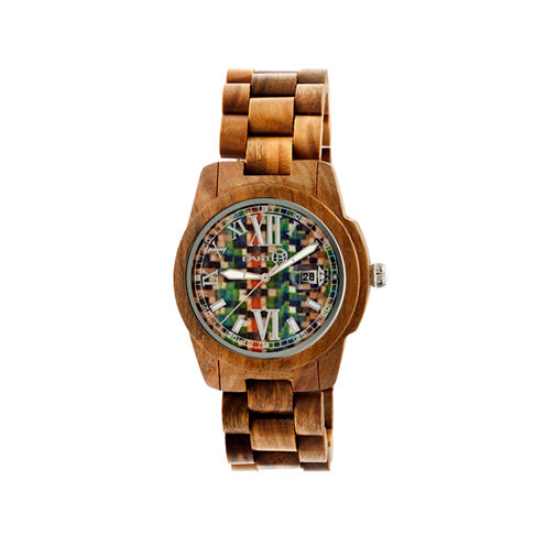 Earth Wood Heartwood Skateboard-Dial Olive Bracelet Watch With Date Ethew1508