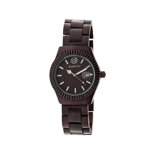 Earth Wood Pith Dark Brown Bracelet Watch With Date Ethew1802