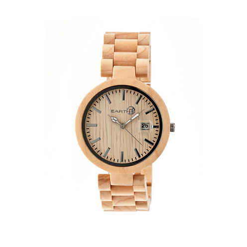 Earth Wood Stomates Khaki Bracelet Watch with Date ETHEW2201