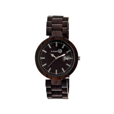 jcpenney.com | Earth Wood Stomates Dark Brown Bracelet Watch with Date ETHEW2202