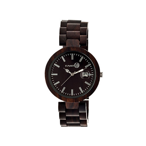 Earth Wood Stomates Dark Brown Bracelet Watch with Date ETHEW2202