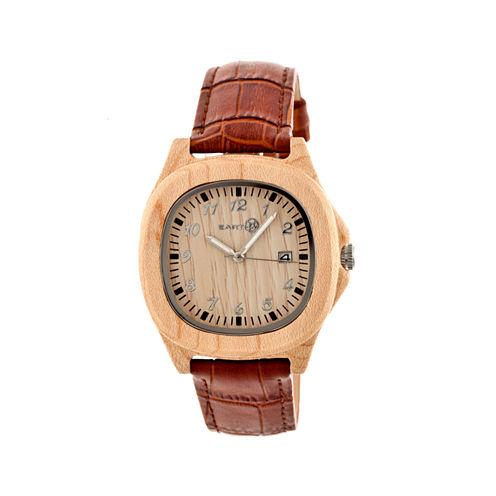 Earth Wood Sherwood Khaki Leather-Band Watch with Date ETHEW2701