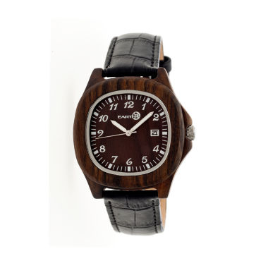 jcpenney.com | Earth Wood Sherwood Dark Brown Leather-Band Watch with Date ETHEW2702