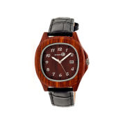 Earth Wood Sherwood Red Leather-Band Watch with Date ETHEW2703