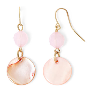 jcpenney.com | Mixit™ Pink Shell Gold-Tone Dangle Earrings