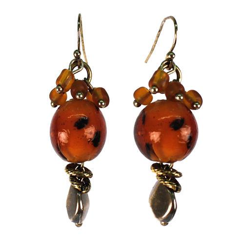 Aris by Treska Brown and Gold-Tone Drop Earrings