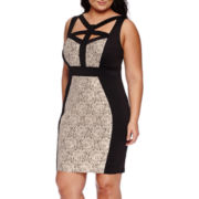 Sangria Sleeveless Cage Blocked Sheath Dress - Plus