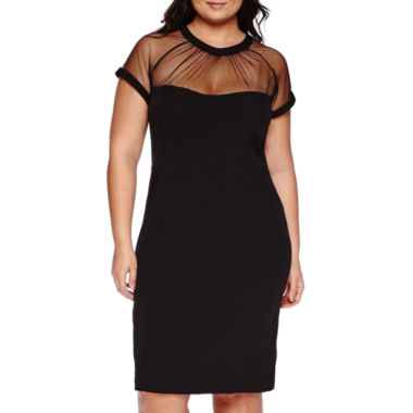 jcpenney.com | Scarlett Short-Sleeve Mesh Neck Sheath Dress - Plus