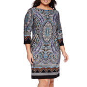 London Style Collection 3/4-Sleeve Placed Scroll Print Sheath Dress - Plus