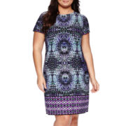London Style Collection Short-Sleeve Prism Border Sheath Dress - Plus