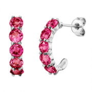Lab-Created Round Ruby Sterling Silver J-Hoop Earrings