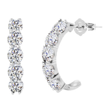 jcpenney.com | Lab-Created Round White Sapphire Sterling Silver J-Hoop Earrings