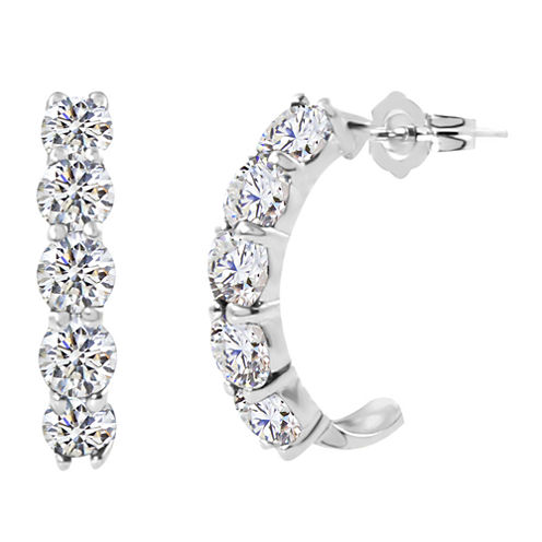 Lab-Created Round White Sapphire Sterling Silver J-Hoop Earrings