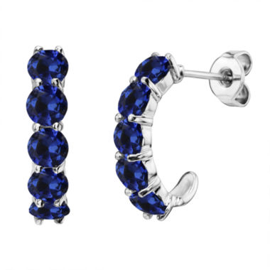 jcpenney.com | Lab-Created Round Blue Sapphire Sterling Silver J-Hoop Earrings