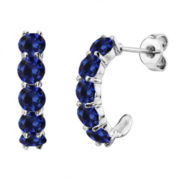 Lab-Created Round Blue Sapphire Sterling Silver J-Hoop Earrings