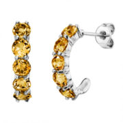 Genuine Round Citrine Sterling Silver J-Hoop Earrings