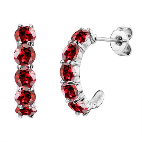 Genuine Garnet Sterling Silver J-Hoop Earrings
