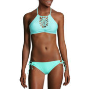Arizona Macrame High-Neck Halter Swim Top or Sweet Pea Side-Tie Hipster Swim Bottoms - Juniors