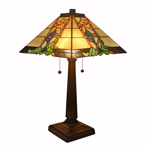Amora Lighting™ Tiffany Style Floral Mission Table Lamp
