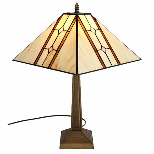 Amora Lighting™ Tiffany Style Simple Lines Mission Table Lamp