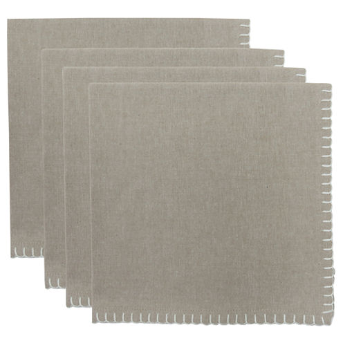 Metro Farmhouse By Park B. Smith® Chambray Set of 4 Crochet-Edged Napkins