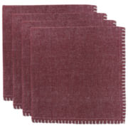 Metro Farmhouse By Park B. Smith® Chambray Set of 4 Redwood Crochet-Edged Napkins