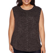 BELLE + SKY™ Sleeveless Neck-Stud Top - Plus