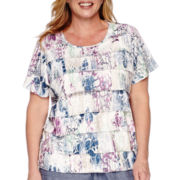 Alfred Dunner® Augustine Short-Sleeve Tiered Floral Tee