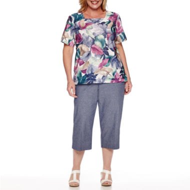 jcpenney.com | Alfred Dunner® Augustine Short-Sleeve Tropical Leaf Tee or Pull-On Capri Pants