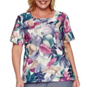 Alfred Dunner® Augustine Short-Sleeve Tropical Leaf Tee