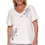 Alfred Dunner® Augustine Short-Sleeve Floral Asymmetrical Knit Top