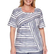 Alfred Dunner® Augustine Short-Sleeve Spliced Stripe Tee