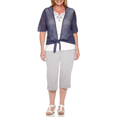 jcpenney.com | Alfred Dunner® Augustine Short-Sleeve Two-For-One Top or Striped Capri Pants