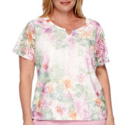 Alfred Dunner® Savannah Short-Sleeve Floral Lace Knit Tee