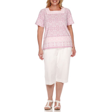 jcpenney.com | Alfred Dunner® Savannah Short-Sleeve Tee or Pull-On Sheeting Capris- Plus