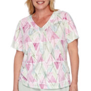 Alfred Dunner® Savannah Short-Sleeve Watercolor Diamond-Knit Tee