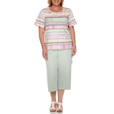 jcpenney.com | Alfred Dunner® Savannah Short-Sleeve Biadere Tee or Pull-On Capris