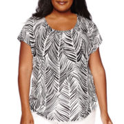 Liz Claiborne® Short-Sleeve Shirred Tee - Plus